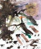 Abstrakcjonistyczny rysunek z akwarelami Zdjęcie Royalty Free