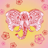 Abstrakcjonistyczny słoń w indianina stylu mehndi Zdjęcie Stock