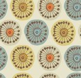 Abstrakcjonistyczny scandinavian bezszwowy wzór. Tkaniny tekstura z dekoracyjnymi kwiatami Obrazy Stock