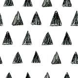 Abstrakcjonistyczny scandinavian wzór z czarnymi polki kropki trójbokami ilustracja wektor