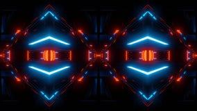 Abstrakcjonistyczny scifi tunel odzwierciedlający z błękitnymi światłami ilustracji