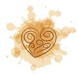 Abstrakcjonistyczny serce na kawowym plamy tle royalty ilustracja