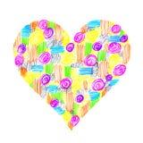 Abstrakcjonistyczny serce z kolorowym wzorem Obraz Royalty Free