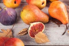 Abstrakcjonistyczny skład świeże dojrzałe owoc i liście na bielu Fotografia Stock