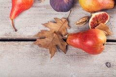 Abstrakcjonistyczny skład świeże dojrzałe owoc i liście na bielu Zdjęcia Stock