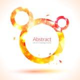 Abstrakcjonistyczny skład błyszczące round ramy i poligonalni projektów elementy pomarańczowe i żółte ilustracji