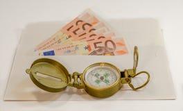 Abstrakcjonistyczny skład - pieniądze w kopercie dla podróży Zdjęcia Stock