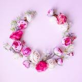 Abstrakcjonistyczny skład wiosna kwitnie na różowym tle zdjęcie stock
