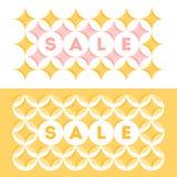 Abstrakcjonistyczny sprzedaż sztandaru szablonu projekt z pastelem barwił geometrycznego wzór z okręgami i gwiazdami w menchii i  zdjęcia stock