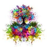 Abstrakcjonistyczny stubarwny drzewo z korzeniami ilustracja wektor