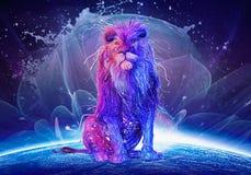 Abstrakcjonistyczny Stubarwny lwa obsiadanie Na górze Kolorowej kuli ziemskiej ilustracja wektor