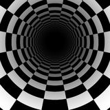 Abstrakcjonistyczny szachowy tunelowy tło z perspektywicznym skutkiem Zdjęcie Royalty Free