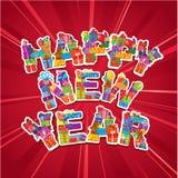 Abstrakcjonistyczny Szczęśliwy Nowego Roku czerwieni tło ilustracji