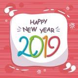 Abstrakcjonistyczny szczęśliwy nowy rok 2019 z modnym projektem Ilustracja Wektor