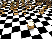 Abstrakcjonistyczny sześcian Blokuje Checker tło Obraz Stock