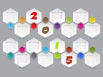 Abstrakcjonistyczny sześciokąt kształtował 2015 kalendarz ilustracji