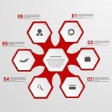 Abstrakcjonistyczny sześciokąta infographics szablon Zdjęcie Stock