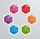 Abstrakcjonistyczny sześciokąta infographics szablon Obrazy Stock
