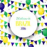 Abstrakcjonistyczny sztandar z inskrypci powitaniem Brazylia Zdjęcie Stock