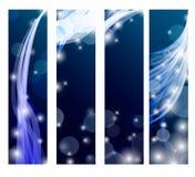 Abstrakcjonistyczny sztandar z kędziorami błękitny kolor Zdjęcie Stock