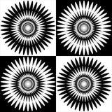 Abstrakcjonistyczny tło czarny i biały wzór w okręgu secie ilustracja wektor