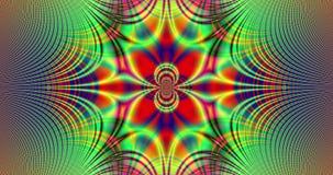 Abstrakcjonistyczny tętniący kolorowy fractal wideo z szczegółowi łączący łuki, centrali gwiazda i kwiat/ ilustracja wektor