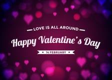 Abstrakcjonistyczny tła valentine dzień z serca bokeh Obraz Royalty Free