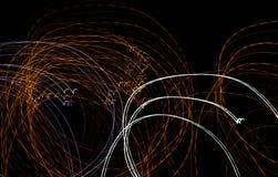 Abstrakcjonistyczny tło żarówki przy nocą w ruchu Obrazy Royalty Free