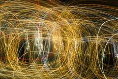 Abstrakcjonistyczny tło żarówki przy nocą w ruchu Obraz Royalty Free