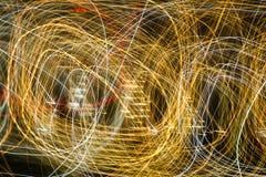 Abstrakcjonistyczny tło żarówki przy nocą w ruchu Zdjęcie Royalty Free