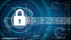 Abstrakcjonistyczny tło animaci kędziorka ochrony pojęcie na HUD i cyber futurystyczny tło dla dane ochrony bezpieczeństwa pojęci royalty ilustracja