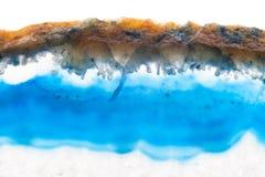Abstrakcjonistyczny tło, błękitna agata plasterka kopalina Fotografia Stock