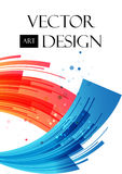 Abstrakcjonistyczny tło, czerwień i błękitni arcuate elementy, ilustracja wektor