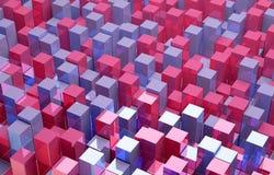 Abstrakcjonistyczny tło czerwoni i błękitni sześciany Obraz Royalty Free