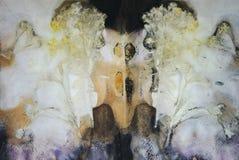 Abstrakcjonistyczny tło, druk liście i kwiaty na papierze, zdjęcia royalty free