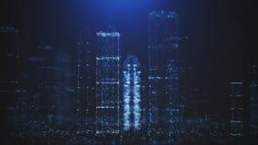 Abstrakcjonistyczny tło duży miasto błyskotliwe cząsteczki zbiory