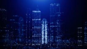 Abstrakcjonistyczny tło duży miasto błyskotliwe cząsteczki ilustracja wektor