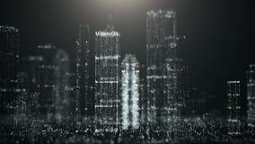 Abstrakcjonistyczny tło duży miasto błyskotliwe cząsteczki royalty ilustracja