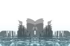 Abstrakcjonistyczny tło duży miasto Grunge styl ilustracji