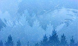 Abstrakcjonistyczny tło las i góry z latającymi ptakami ilustracja wektor