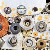 Abstrakcjonistyczny tło od rygli, śruby, dokrętki Zdjęcia Stock