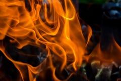 Abstrakcjonistyczny tło ogień, węgle, płomienie i pokrętni elementy popiół, Obrazy Stock