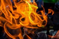 Abstrakcjonistyczny tło ogień, węgle, płomienie i pokrętni elementy popiół, Fotografia Royalty Free