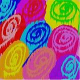 Abstrakcjonistyczny tło okręgi i kropki barwiony rozlewający atramentu spływanie w postaci kwiatów ilustracja wektor