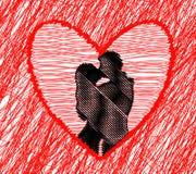 Abstrakcjonistyczny tło pary całowanie Obraz Stock
