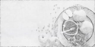 Abstrakcjonistyczny tło Rosh hashanah &-x28; żydowski nowy rok holiday&-x29; pojęcie symbole tradycyjni Ołówkowy nakreślenie styl zdjęcia royalty free