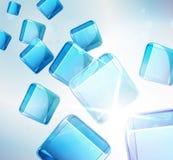 Abstrakcjonistyczny tło: spadać błękitny sześciany. Zdjęcie Royalty Free