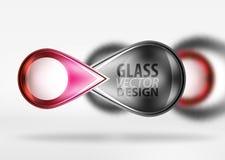 Abstrakcjonistyczny tło, szklany minimalny round i strzała, kształtujemy w 3d przestrzeni z zamazanymi skutkami Zdjęcie Royalty Free