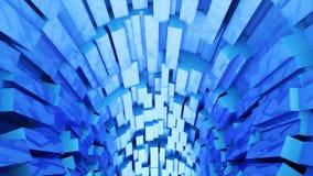 Abstrakcjonistyczny tło z animacją lot w fantastyka naukowa tunelu Zapętlająca animacja royalty ilustracja