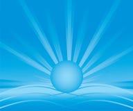 Abstrakcjonistyczny tło z błękitnym opromienionym słońcem Zdjęcia Stock